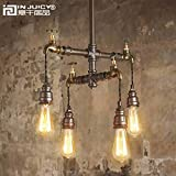 Injuicy Lighting Loft Vintage Industrial Wrought Iron E27 Edison Pendant Lights Lamps Fixtures Retro American Water Pipe Steampunk Metal Chandelier Bar Cafe Dining Rooms Restaurants Rust (4 Lights)