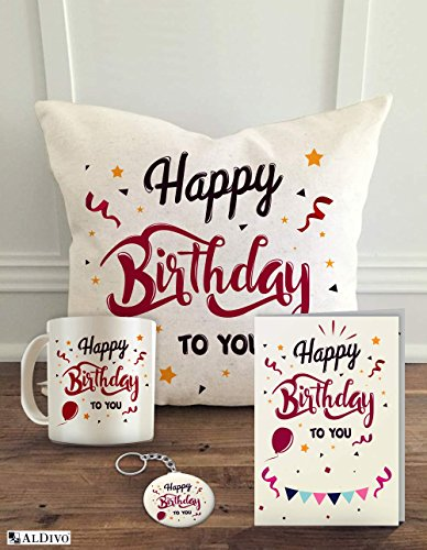 "ALDIVO Happy Birthday to You (12"" x 12"" Cushion Cover with Filler + Printed Coffee Mug + Greeting Card + Printed Key Ring) (Combo) 35"