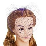 Blank K Wedding Bridal Veil Fresh Net Birdcage with Pearls Purple