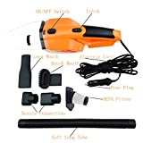 Auto Vacuums Hand Car Cleaner 120W, 12-Volt Wet Dry Portable Handheld LED Light Washable Filters Lightweight Auto Vacuum Cleaner with 14.7FT/4.5M Power Cord (Orange)