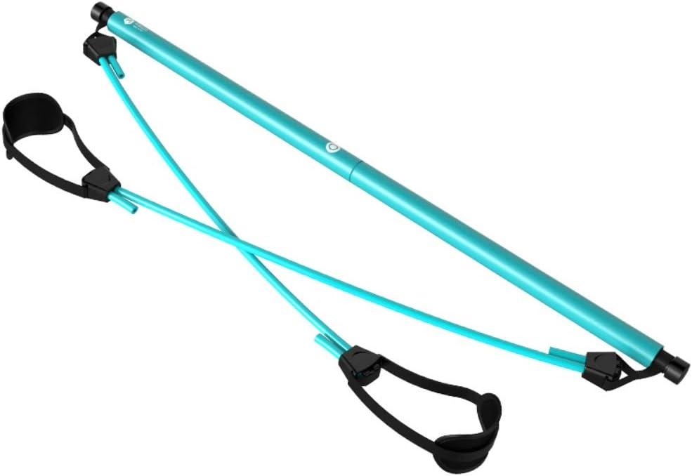 Stretch Sportger/ät f/ür Zuhause,mit Widerstandsband Yoga Stick Sit-Up Bar Widerstandsband Yoga Gymnastikstange mit Fu/ßschlaufe f/ür Yoga Phayee Tragbares Pilates Bar Kit