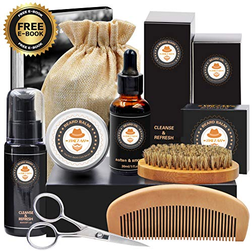 XIKEZAN 8 in 1 Mens gifts for Beard Care Grooming Kit with Unscented Beard Oil and Free Beard Shampoo