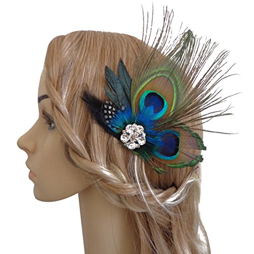 CHUANGLI Fascinator 1920s Gatsby Roaring 20s Flapper Peacock Feathers Clip Headband Evening Dress Headdress]()
