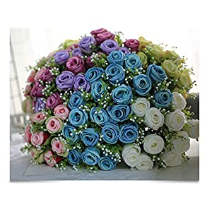 10 Head Rose Flower Artificial Silk Pearl Flower Wedding Bridal Bouquet Diamond Rose Garland Party Home Decor 9