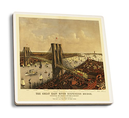 OKSLO New York City, New York - (1885) - Panoramic Map (Set of 4 Ceramic Coasters - Co