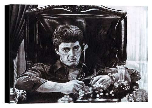 Tony Montana Scarface Alpacino At His Desk Stretched Canvas Art Print - 20x15in