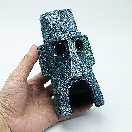 Kelaina 1 pieza creativa de cabeza de isla de Pascua casa pecera acuario adorno: Amazon.es: Hogar
