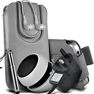 Sony Xperia M Protective PU Leather Slip cuerda del tirón magnético En la bolsa del lanzamiento rápido con Mini capacitiva lápiz óptico retráctil, 3.5mm en auriculares del oído, Mini recargable altavoz de la cápsula, Micro USB CE aprobado 3 Pin Cargador (gris)
