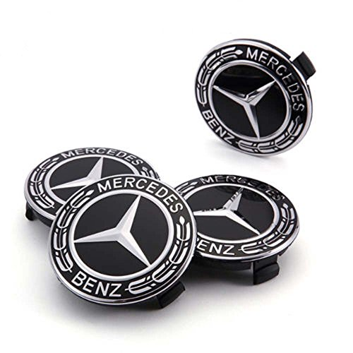 Light Alloy Rim - DIYcarhome For Mercedes Benz Wheel Center Caps, 75mm/3 Inch,Black Best Stylish Finish Cover Logo for Your Light-Alloy Rims,Fits Most Mercedes Of All Models C ML CLS S GL SL E CLK CL GL (4Pcs)