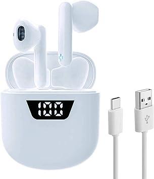 Auriculares inalámbricos Air7 Bluetooth 5.2 [con Caja de Carga con Pantalla LED de 35 Horas/Cambio rápido USB-C] Micrófono estéreo 3D Incorporado, Adecuado para iPhone/Android/Samsung/Airpods por: Amazon.es: Electrónica
