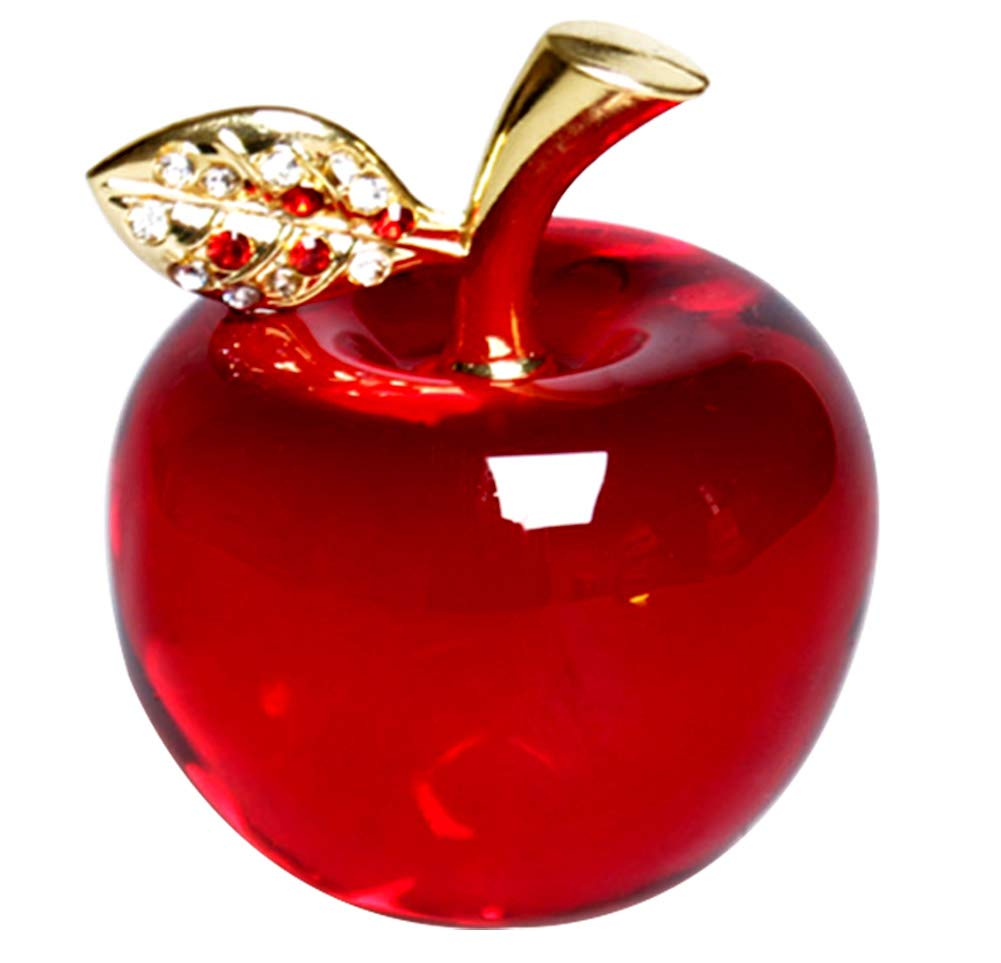 Hoobar Crystal Apple Figurine Paperweight Ideal Gifts for Wedding Birthday Christmas and Home Decoration 2.1 Inch (B-red)