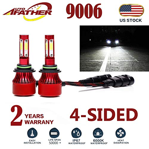 2Pcs 9006 LED Headlight Bulbs Conversion Kit HB4/9012 Car Headlamp Bulbs 20000LM 6000K Cool White Hi/Lo Beam DRL Fog Light Replace for Halogen HID, with 4-Side Chips - Plug and Play