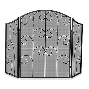 Amazon Com 3 Fold Black Wrought Iron Fireplace Screen Home Kitchen