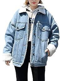 Women's Oversized Thick Warm Sherpa Fur Lined Denim Trucker Jacket Boyfriend Jean Coat