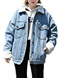 Jenkoon Women's Oversized Thick Warm Sherpa Fur Lined Denim Trucker Jacket Boyfriend Jean Coat (Light Blue, X-Small)