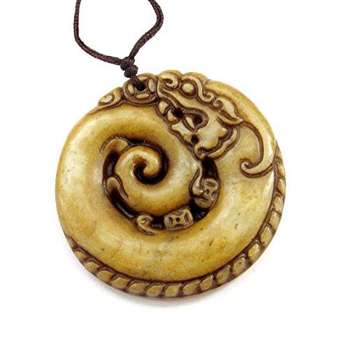 Carved Stone Super Power Dragon Amulet Pendant