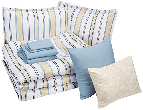 (AmazonBasics Bed-in-a-Bag - Soft, Easy-Wash Microfiber - 10-Piece King, Blue and Tan Stripe)