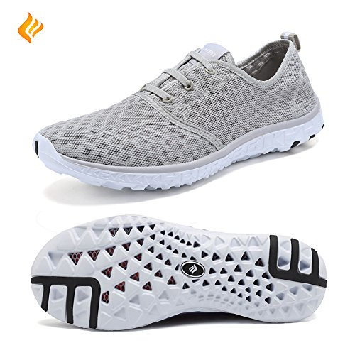 FANTINY+Aqua+Water+Shoes+Quick+Drying+Lightweight+Mesh+Slip-on+athletic+sport+casual+Sneakers+For+Men+and+Women%2CXLSX01%2CGrey-44