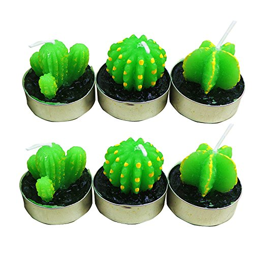 6 Pcs Cactus Tealight Candles, SOUFUN Handmade Delicate Succulent Cactus Candles for Birthday Party Wedding Home Decoration (Green A) (Same Delivery Day Cakes)