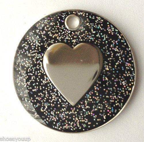 Personnalisé pour chien chat Pailleté noir en forme de cœur et médaille d'identification gravée Emblems-Gifts