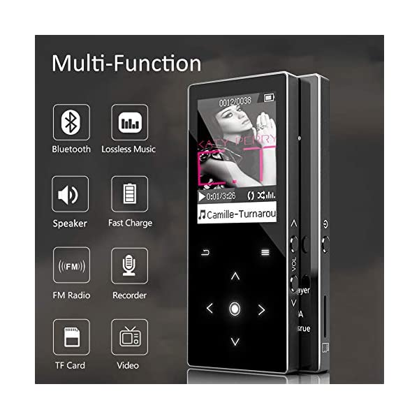 MP3 Player with Bluetooth 16GB Portable Music Player with Touch Button/1.8TFT Screen,Built in Speaker, FM Radio,Voice Recorder Metal Shell Supports up to 128GB,for Running Jogging 5