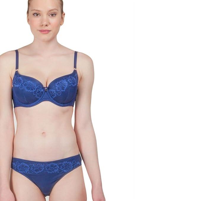 GISELA - Conjunto Sujetador Copa Mujer Color: Azul Talla: 90