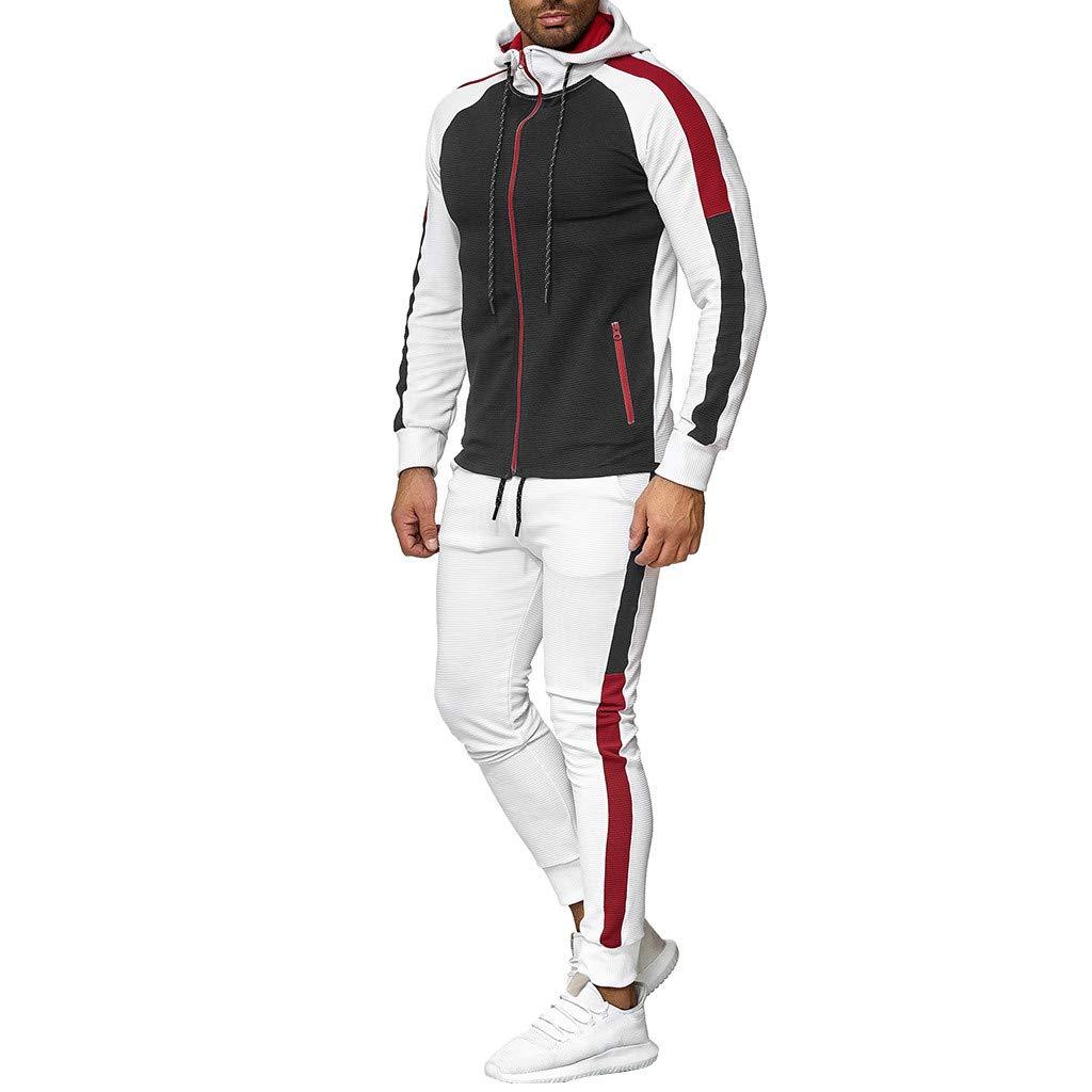 iYmitz Mens Tracksuit Set Long Sleeve Pleated Zip-Splicing Long-Sleeve Hooded Sweater Set Hoodie Top Bottoms Jogging Zip Joggers Gym Sport Sweat Suit Pants Plus Size M-5XL