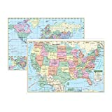Kappa Map Group / Universal Maps UNI12489 Us and World Wall Maps