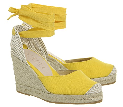 Office Marmalade Yellow Espadrille Wedges Canvas T1STwCqx