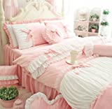 FADFAY Cute Girls Short Plush Bedding Set Romantic White Ruffle Duvet Cover Sets 4-Piece,Pink Queen