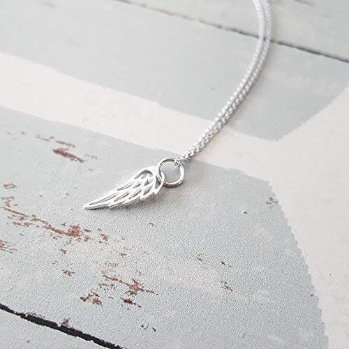 (Sterling Silver Tiny Angel Bird Wing Charm Necklace 18