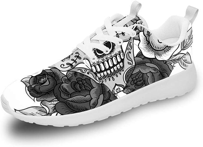 Mesllings Zapatillas de Running Unisex con diseño de Calavera y Flores Blancas y Negras, Ligeras, para Deportes al Aire Libre: Amazon.es: Zapatos y complementos