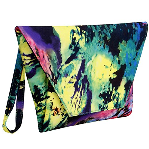 Colorful Blue Leopard - BMC Women's Colorful Abstract Paint Fashion Handbag Oversized Envelope Clutch
