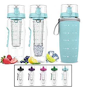 Bevgo Infuser Water Bottle – Large 32oz - Hydration Timeline Tracker – Detachable Ice Gel Ball With Flip Top Lid - Quit Sugar - Save Money - Multiple Colors with Recipe Gift Included (Light Blue)
