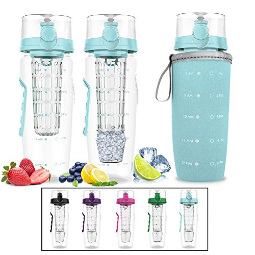 Bevgo Fruit Infuser Water Bottle - Large 32oz - Hydration Timeline Tracker - Detachable Ice Gel Ball with Flip Top Lid - Quit Sugar Multiple Colors with Recipe Gift Included