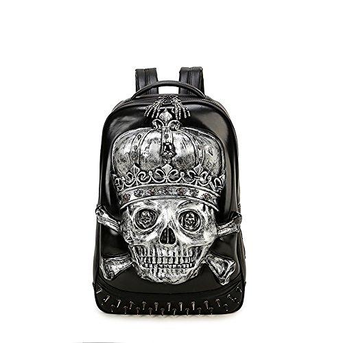Anglers Briefcase Bag (Mery Wa Unisex 3D Skeleton Print Backpack PU Leather Rucksack Shoulder College Laptop Bag,Silver)