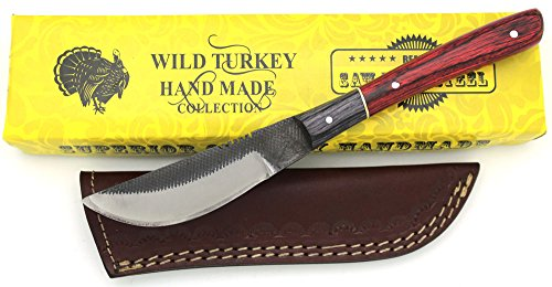 Wild Turkey Handmade Full Tang Real File Skinner Knife w/ Leather Sheath Outdoors Hunting Camping Fishing