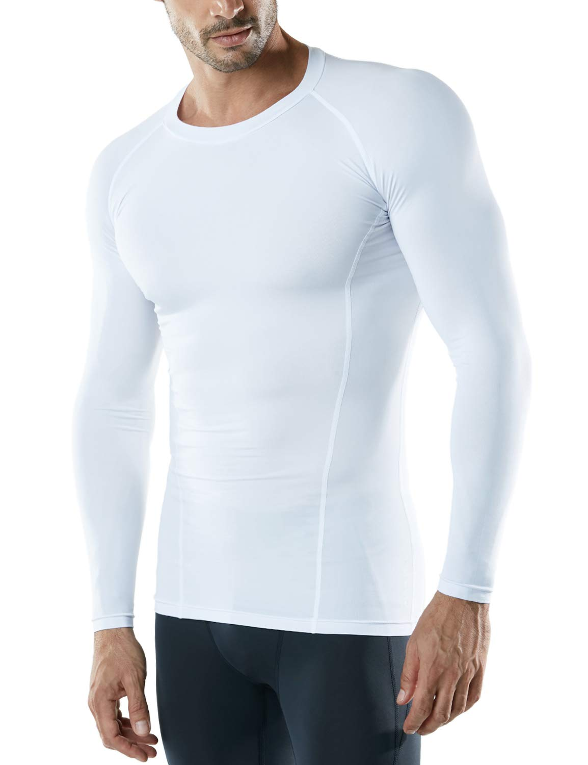 ATHLIO AO-BLS01-WHT_Large Men's (Pack of 3) Cool Dry Compression Long Sleeve Baselayer Athletic Sports T-Shirts Tops BLS01 by ATHLIO (Image #2)
