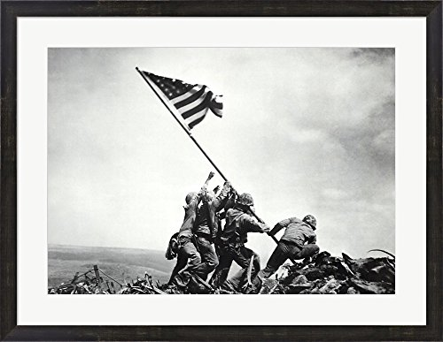 (Flag Raising on Iwo Jima, February 23, 1945 by Joe Rosenthal Framed Art Print Wall Picture, Espresso Brown Frame, 33 x 25 inches)