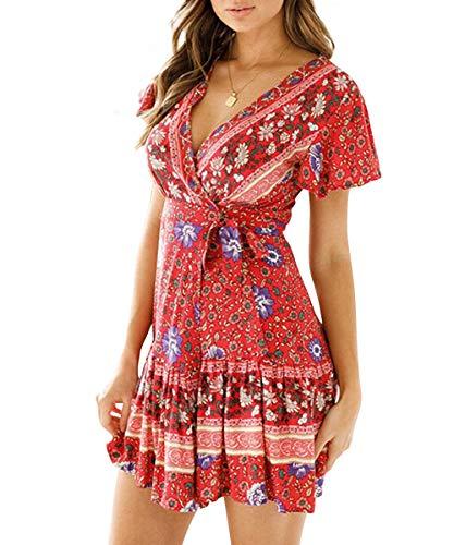 Womens Short Sleeve Bohemian Floral Print A Line Swing Beachwear Mini Dress Red Large