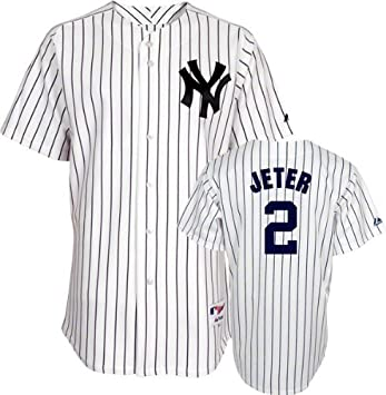 100% authentic 11dc0 f1937 Majestic Derek Jeter Jersey: Youth Home White/Pinstripe Replica #2 New York  Yankees Jersey