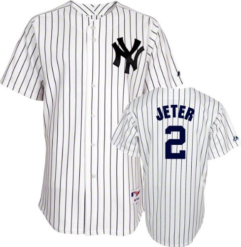 Majestic Derek Jeter Jersey: Youth Home White/Pinstripe Replica #2 New York Yankees Jersey