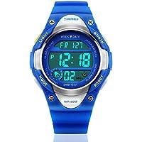 Reloj de pulsera digital con luz LED, impermeable para deportes al aire libre, con correa de silicona, alarma, cronómetro, liviano, azul para niño o niña
