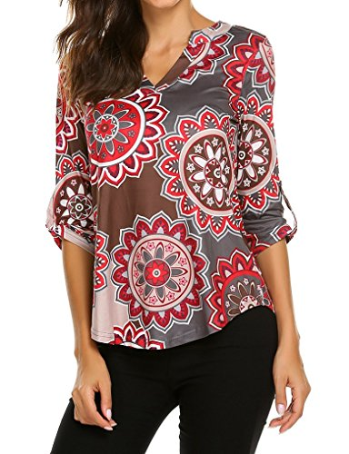 - Women's Flowy V Neck Cuffed Sleeve Casual Blouses Round Hem Henley Shirts Tops Multi Gray,M