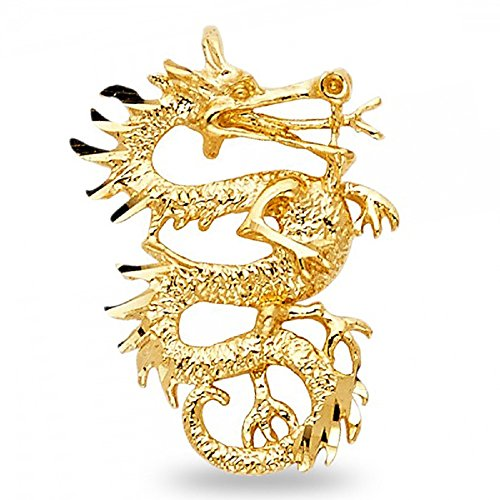 Solid 14k Yellow Gold Dragon Pendant Exotic Charm Diamond Cut Polished Genuine 25 mm x 17 mm