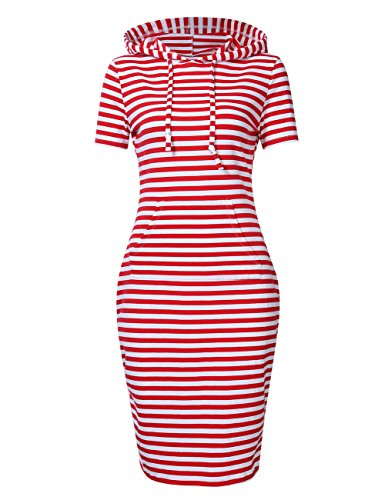 MISSKY Women's Short Sleeve Pullover Stripe Keen Length Slim Hoodie Dresses with Kangaroo Pocket for Sport Causal for Spring Summer Autumn, Red White, ()