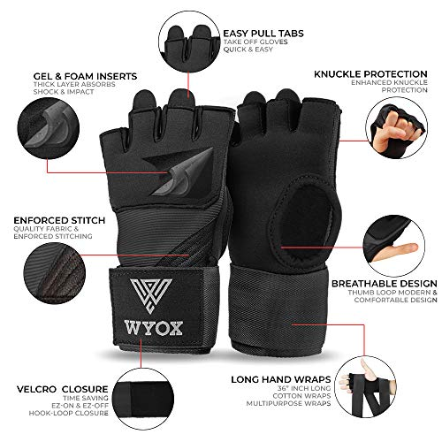 WYOX Boxing Wraps MMA Gloves Inner Boxing Gloves for Women & Men - EZ-Off & On - Thick Knuckle Padding - Breathable Fabric