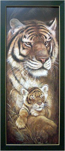 Framed Tiger Baby Cub Safari African Serengeti Picture