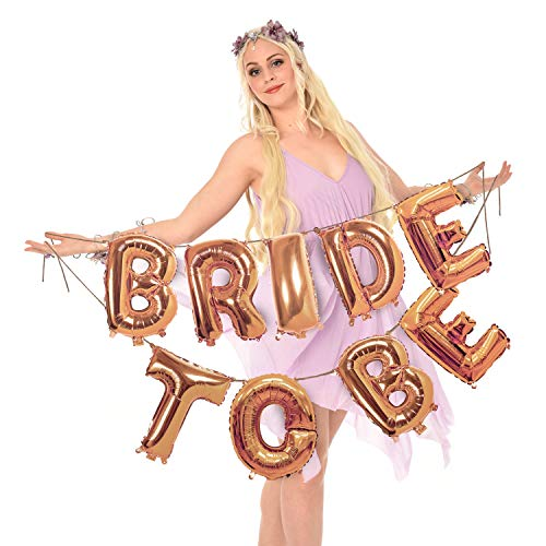 Treasures Gifted Rose Gold Bride to Be Banner Garland Kit in 16 Inches Foil Mylar Letters Balloons for Bachelorette Party Bridal Shower Celebration Supplies -