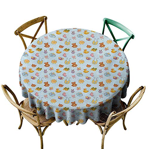 Wendell Joshua The Pattern Round Table Cloth 36 inch Baby,Newborn Sun Teddy Bear Ribbon Feeder Pacifier Chick Kitty Cat Design,Pale Blue Cinnamon Apricot Suitable for Indoor Outdoor Round Tables ()